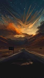 Wallpaper Android Keren 4d Wallpaper Sunset Road Portrait
