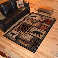2x4 area rugs rustic lodge bear moose deer cabin multi black area rug 2x4 wool area