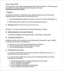 Lesson Plan Outline 9 Lesson Plan Outline Templates Doc Pdf Free Premium Templates