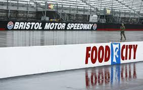 larson leads at bristol race postponed to monday