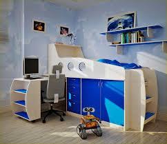 cute boys kids bedroom design ideas blue solid wood bunk bed with storage blue wood shelves boy kids beds bedroom