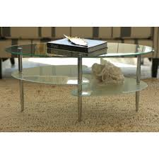 glass 3 shelf modern round oval coffee table with chrome tapered legs coffee tables best canada