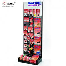 customized strong black freestanding metal pegboard display rack