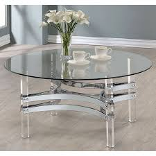 chrome and clear acrylic round coffee table