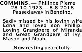 COMMINS. - Philippe Pierre | Death Notices | Adelaide | Weekly Times Now