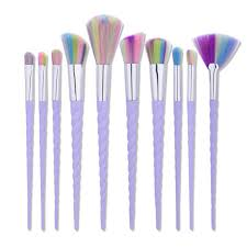 unicorn brush set. unicorn brush make up 10 set - purple 2