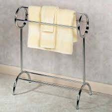 standing towel rack brushed nickel. Standing Towel Rack For Bathroom Free Racks With Round Design And Yellow Towels Floor Brushed Nickel L