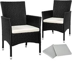 TecTake <b>2</b> x Poly rattan <b>garden chairs</b> set + cushions + <b>2</b> sets for ...
