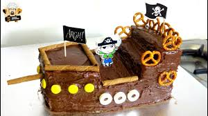 How To Make A Pirate Ship Cake Diy Kids Birthday Party Ideas Youtube