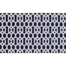 bonanza stain resistant area rugs ruggable washable hexagon fretwork navy blue 3 ft x 5