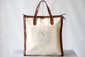 ralph lauren tote bag canvas genuine leather