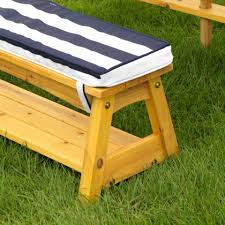 outdoor table bench set with cushions umbrella navy white stripes