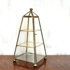 glass and brass box vintage glass and brass box small vitrine pyramid curio cabinet glass display