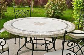 stone top patio table round outdoor marble mosaic travertine tables