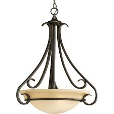 details about progress lighting 3 light foyer pendant forged bronze tea stained glass shade