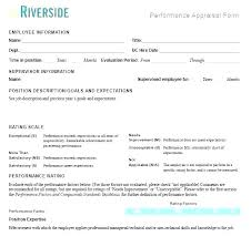 Performance Appraisal Sample Form Workplace Performance Review Template Employee Sample Simple