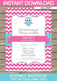 Birthday Invitation Templates Free Download Owl Party Invitations Pink Birthday Party Editable Diy Theme