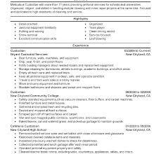 97 Janitorial Resumes Samples Custodian Resume Skills