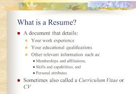 resume attributes personal learning plan create a resume what is a resume a