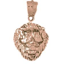 sterling silver lion head pendant rhodium yellow rose or black gold plated