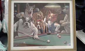 dogs playing pool 2 painting in oil