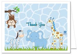 Baby Boy Thank You Cards Jungle Animals Boy Baby Shower Thank You Note Cards