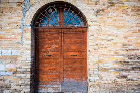 old door with arch and wall stock photo 51297136