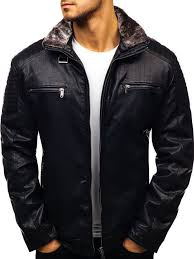 men s leather jacket black bolf ex832