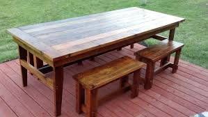 reclaimed wood furniture plans. Reclaimed Wood Patio Table Plans Farmhouse Design With Hardwood Floor Tiles Painted Red Chalk Paint Color And Large Outdoor Dining Made From Bench Seat Furniture