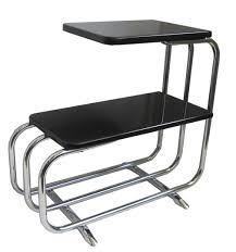 black and chrome furniture. Pair Alfons Bach Chrome And Black Lacquer Sofa Side Tables Furniture H