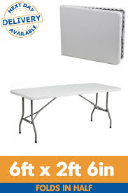 6ft x 2ft 6in centre fold rectangle plastic folding table with regard to 6ft plastic folding table