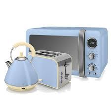 Retro Toasters swan retro microwave pyramid kettle and 2 slice toaster in blue 3713 by uwakikaiketsu.us