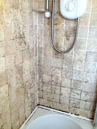 how to clean travertine showers photo 1 of 5 mouldy filled tiled shower before cleaning how how to clean travertine showers bathroom