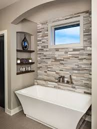 ideal bathroom remodeling ideas with best tub and unique wall tiles using neutral paint color