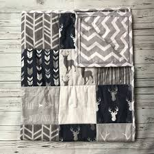 baby quilt woodlands quilt woodland nursery bedding baby boy bedding baby boy blanket gray blue blanket deer blanket crib blanket