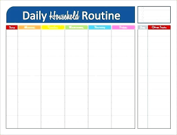 Housekeeping Schedule Chart Household Schedule Checklist Techsentinel Co