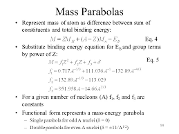 mass parabolas represent mass of atom as difference between sum of constituents and total binding energy