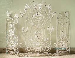 french country scroll fl antique white cottage shabby chic fireplace screen