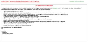 experience letter sample journalist job experience letter