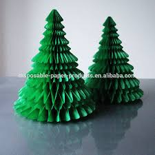 Paper Decorations Christmas Green White Paper Tabletop Christmas Tree Honeycomb Balls