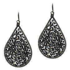black teardrop beaded chandelier earrings