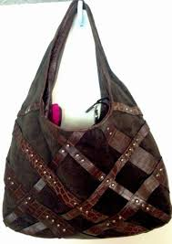 Donald J Pliner Brown Suede Leather Shoulder Bag Hobo Studded Croc Embossed  DonaldJPliner ShoulderBagHoboHandbag Coach ...