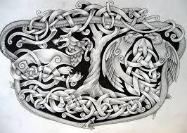 Vikingsgonnapillage Yggdrasil With Hugin And Munin And Jormungand