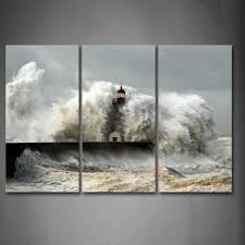 lighthouse in the waves of the sea wall art painting the picture print on canvas seascape on amazon uk wall art canvas with lighthouse in the waves of the sea wall art painting the picture