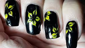 Nail Art | Flower Nail Art | ARS Arts | Black Nail Art - YouTube
