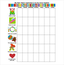 Weekly Chore Chart Template For Kids Weekly Chore Chart Template 11 Free Word Excel Pdf