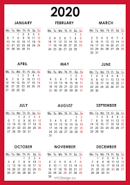 2020 Calendar With Us Holidays 2020 Calendar Printable A4 Paper Size Calendar With Us