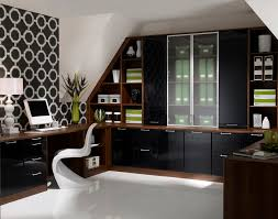 nice office design. Fascinating Modern Home Office Design With U Shape Wooden Desk Cabinet And  Black Pattern Wall Art Nice Office Design