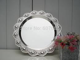 Decorative Metal Serving Trays 60 Pieces Decorative Alloy Dish Plate Silvery Metal Serving Tray 22
