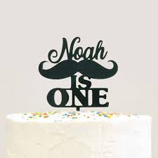 Custom Personalized Name Baby Boy First 1st Birthday Mustache Cake